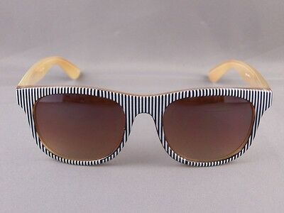 c98e42ebd68 Black White stripe front Brown sides risky business 80s style sunglasses  striped