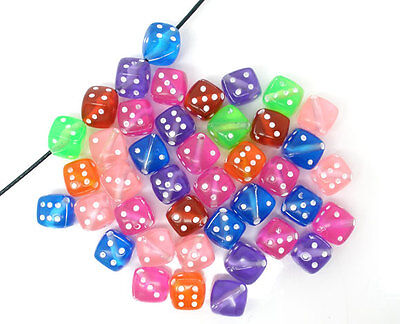 100 HOTSELL Mixed Transparent Acrylic Dice Spacer Beads Jewellery Making 9x9mm