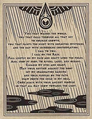 RAIN WATER PRAYER POSTER  A4 SIZE Wicca Pagan Witch Witchcraft BOOK OF SHADOWS