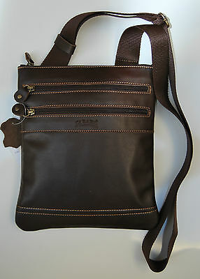 Tracolla Borsello Uomo Vera Pelle Marrone Made In Italy Shoulder Bag Leather1216