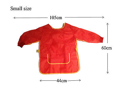 Girls Kids Long Sleeve Art Craft Paint Smock Apron Waterproof School Large&Small