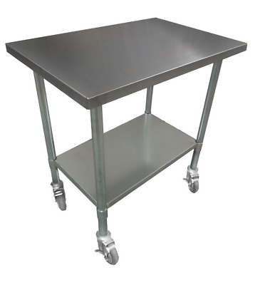 762x915mm STAINLESS STEEL #430 PORTABLE S WORK CORNER BENCH TABLE WITH WHEELS