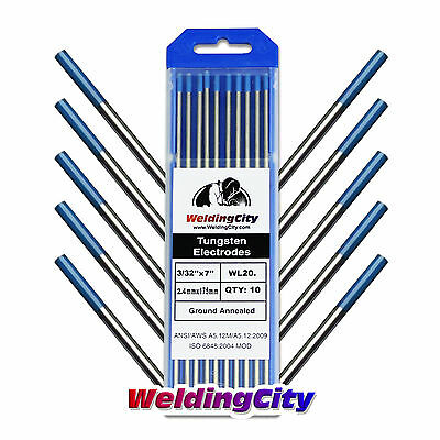 "10-pk TIG Welding Tungsten Electrode 2% Lanthanated Blue 3/32""x7"" US Seller Fast"
