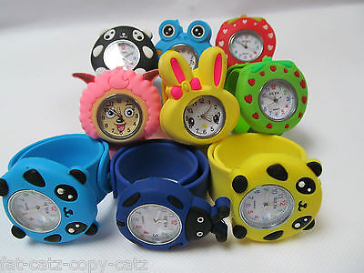 10x KIDS CHILDREN SLAP ON SNAP BAND SILICONE BEES FROG PANDA BUNNY WRIST WATCHES