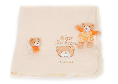 Personalised Name Embroidered 3 Piece Baby Blanket & toy Newborn Gift Set
