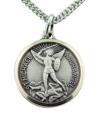"""Catholic Womens Gift 3/4"""" Fine Silver St Michael Protection Pendant w 18"""" Chain"""