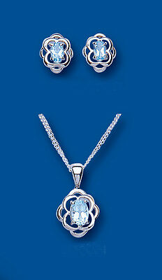 "Sterling Silver Oval Blue Topaz Fancy Edge Pendant & Earring Set with 16"" Chain"
