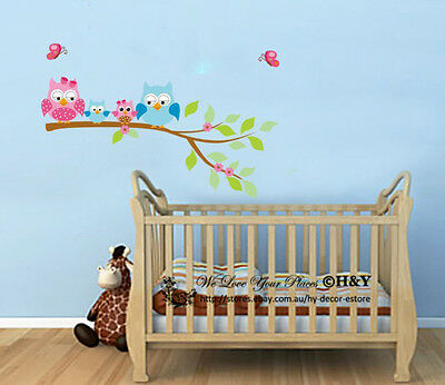 Owl Branch Removable Wall Sticker Decal Kid Nursery Baby Decor Optional Name