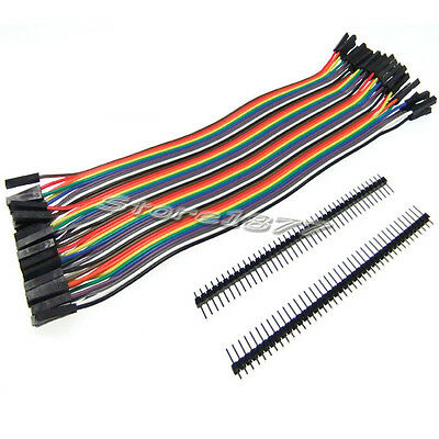 40pcs Dupont Jumper Wire Cable 2.54mm 1P-1P Female to Female with Pin Header