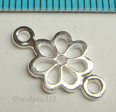 2x BRIGHT STERLING SILVER FLOWER CHANDELIER CONNECTOR BEADS N212