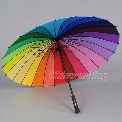Multicolour Windproof Rainbow Umbrella Pagoda Sun Parasol Wedding Party Favor