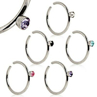 New Surgical Steel Nose Ring Hoop Stud with 2mm Coloured Gem 20g
