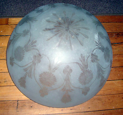 Giant Antique Cut Frosted Glass Ceiling Fixture Bowl Chandelier Lamp Globe