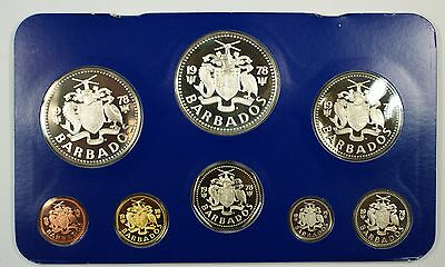 1978 Barbados 8 Coin Proof Set $5 $10 Silver- w/ Box & COA