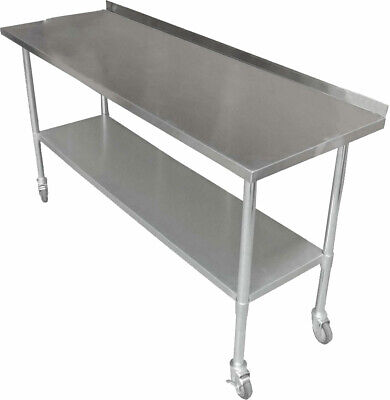 1524x762mm NEW STAINLESS STEEL PORTABLE WORK BENCH TABLE W/ WHEELS SPLASH BACK