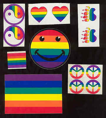 Gay Pride Stickers x13 Smiley Face Flag Peace Sign Hearts Paw Prints Rainbow