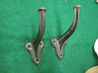 "Pair of Antique 6"" Cast Iron single Hooks Industrial Gothic look  #1974-13"