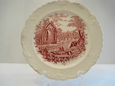 """Taylor and Smith """"English Abbey"""" Red Tranferware Plate"""