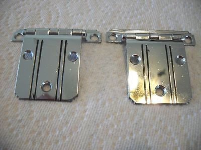 "Vtg NOS CHROME Steel HINGES BLACK Lines Stepped Edges 3/8"" offset National Lock"