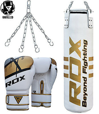 RDX UnFilled Leather Punch Bag Boxing Gloves Muay Thai MMA Punching Kickboxing W