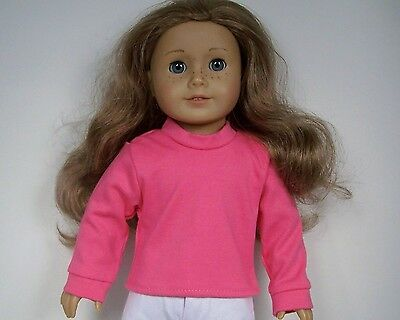 """Debs WHITE Long Sleeve Solid T-Shirt Top Doll Clothes For 18/"""" American Girl"""