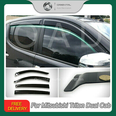 Injection Weather Shield Weathershield Window Visor Triton dual Cab 06-15 4pcs S