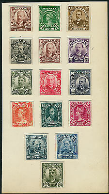 BRAZIL #174-188 ABNCo. XF-SUPERB PLATE PROOFS ON INDIA EX-GREEN HV5290