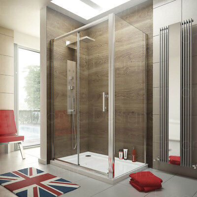1200 x 760 Sliding Door Shower Enclosure Glass Cubicle with Stone Tray and Waste