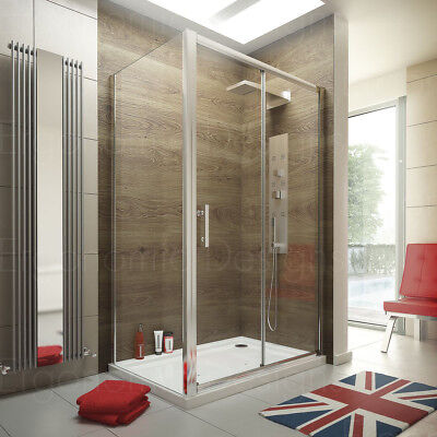 1200 x 800 Sliding Door Shower Enclosure Glass Cubicle with Stone Tray and Waste