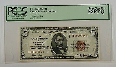 1929 $5 Five Dollar FRBN Minneapolis Note PCGS About New 58 PPQ Fr. 1850-I