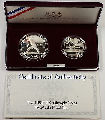 1992 Olympic 2 Coin Commem Proof Set w/ Silver Dollar in Original Mint Packaging