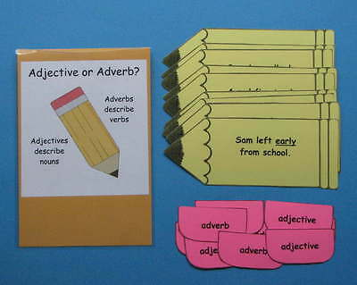 Teacher Made Literacy Center Resource Game Adjective or Adverb?