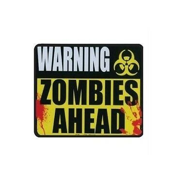 Warning Zombies Ahead - Die Cut Magnet, Funny Sign, Bumper Magnet