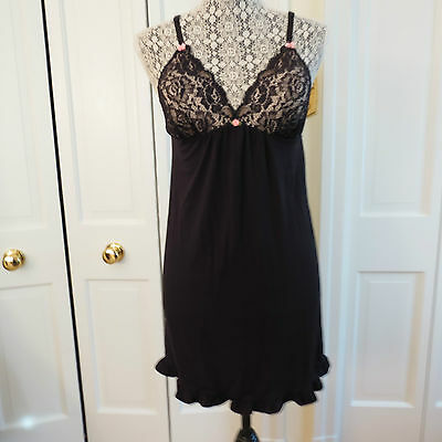 Sexy Betsey Johnson Black Nightgown/Negligee with Built-in Bra- Small – NWT