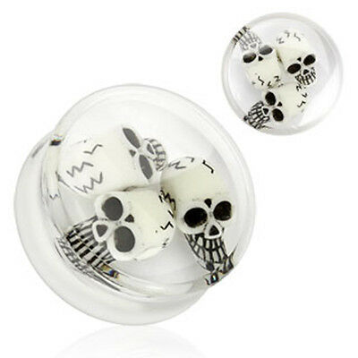 Flesh Tunnel Plug Totenkopf Skull Piercing Double Flared Clear Weiß 3D Inlay