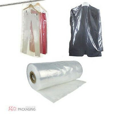 "Garment Cover Clear Polythene Bags 46"" Dry Cleaner Laundry Clothes Protectors"
