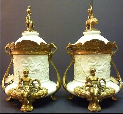 Bronze & Porcelain Urns Pair With Figurune