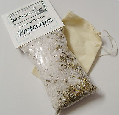PROTECTION BATH SALTS 170g WITH COTTON BAG Wicca Witch Pagan Spell Herb  Goth