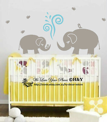 Cute Elephant Wall Sticker Vinyl Decal Kid Nursery Baby Decor Personalised Name