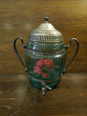 Vintage Wine/Sangria Green Glass w/Metal Container