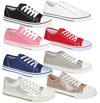 Ladies Womens Girls Lace Up Canvas Flat Casual Pumps 3-8