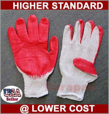 300 Pair Cotton /Poly Work Gloves  Lg w/ Red Latex Coated Palm Finger White