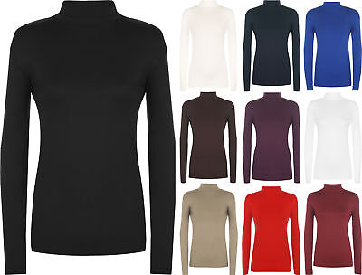 New Plus Size Ladies Polo Neck Long Sleeve Womens Stretch Bodycon Top 16 - 26