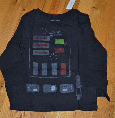 NWT Baby Gap Toddler Boy Star Wars Darth Vader Long Sleeve Shirt & Cape 3T 4T