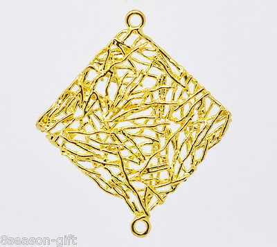 10 Gold Plated Square Filigree Earring Pendants 31x27mm