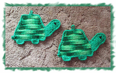Set of 2  HAND CROCHETED TURTLE POTHOLDERS more styles & colors listed in store