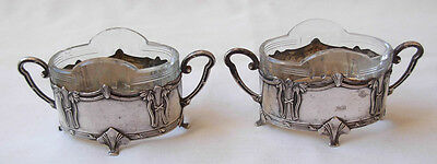 Pair Of Art Nouveau Silver Open Salt Cellars With Glass Liners