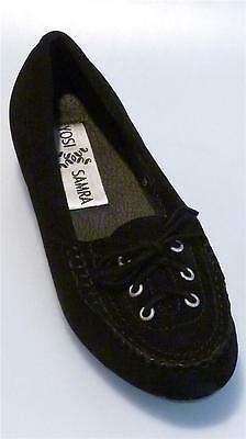 0786-1 Women's Comfortable Casual Black Suede Flats 1/2 inch Heel w/ Front Lace