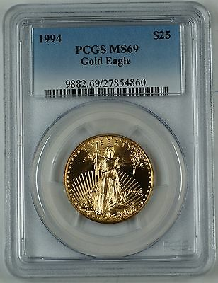 1994 1/2 oz. Gold Eagle $25, PCGS MS-69, Gold American Eagle, GEM Coin