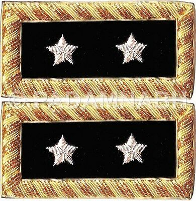 ARMY MAJOR GENERAL SHOULDER BOARDS PAIR HAND EMBROIDERED (SB-019)